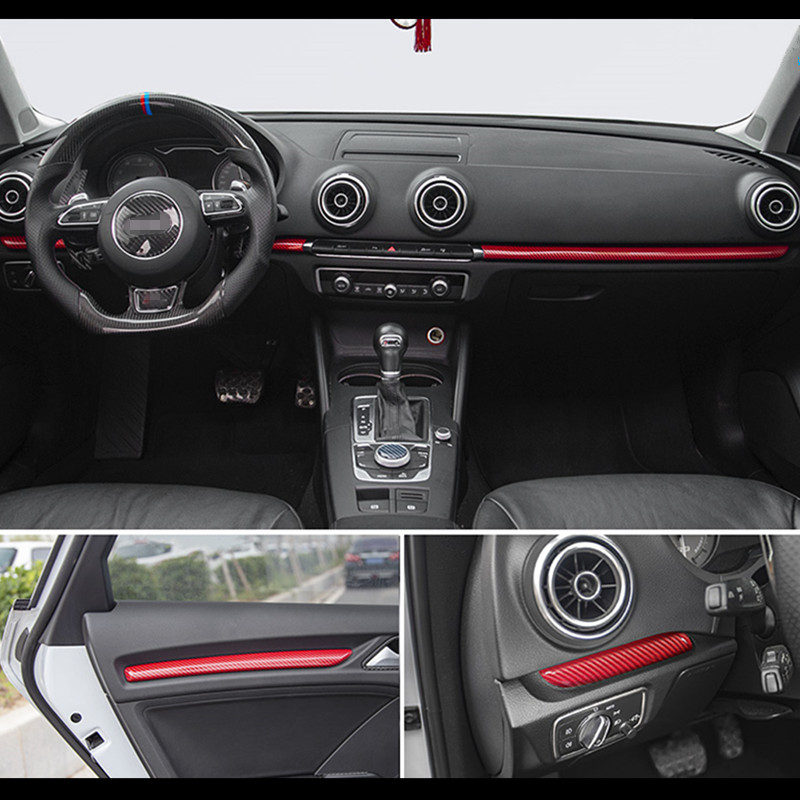 Car Styling Center Console Dashboard Stips Decoration Sticker Trim Carbon Fiber Color For Audi A3 8V 2014-2019 S3 Accessories