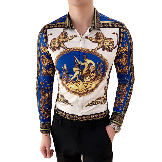 Large Size M-6XL 2019 New Mens Fashion Boutique Printed Casual Long-sleeved Shirt Design Dress Tuxedo Slim Fit Shirt Male