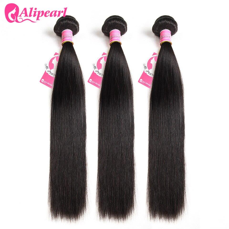H52985b53607a4ad6848f2be677aa7b6eB AliPearl Hair Straight Human Hair 3 Bundles With 5x5 Closure Brazilian Hair Weave Bundles Natural Color Remy Hair Extension