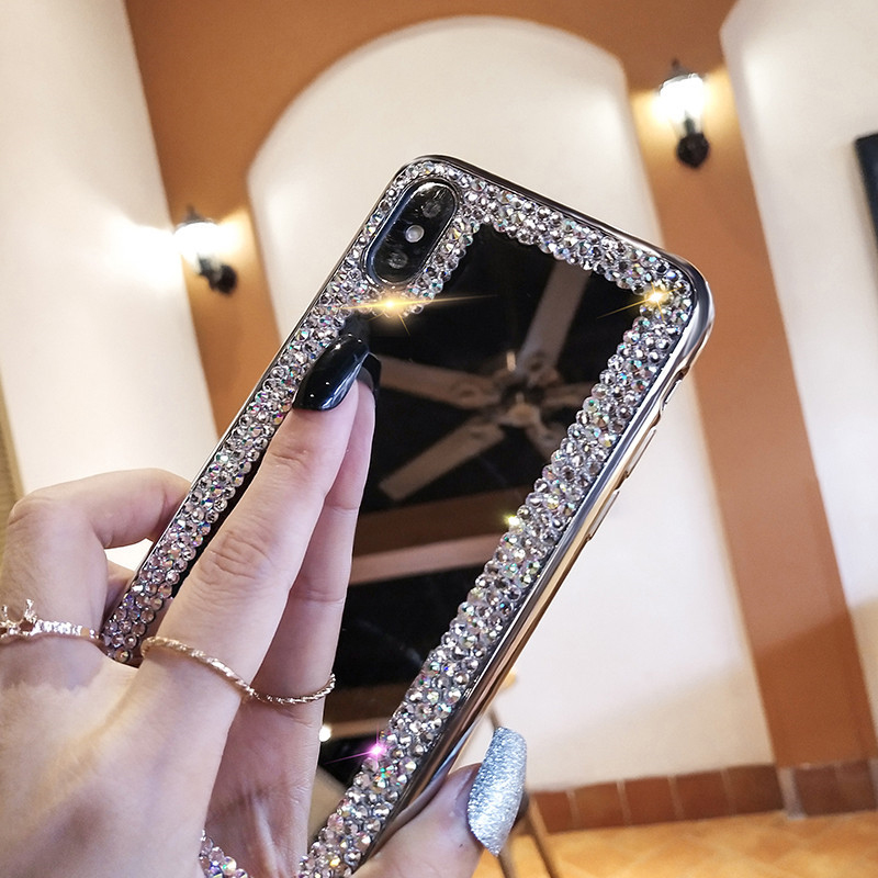 For Samsung S6 S7 Edge S8 S9 S10 Plus S10E A10 A20 A30 A40 A50 A60 A70 A80 A90 5G A51 A71 3D Diamond Makeup Mirror Case image