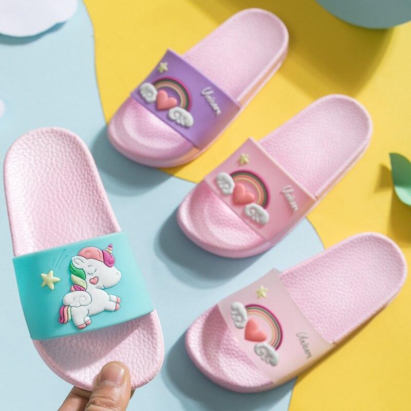 Kids Home Slippers Girls Cartoon Beach Shoes Summer Rainbow Flip Flops Boys Non-Slip Outdoor Shoes Toddler Unicorn Slippers