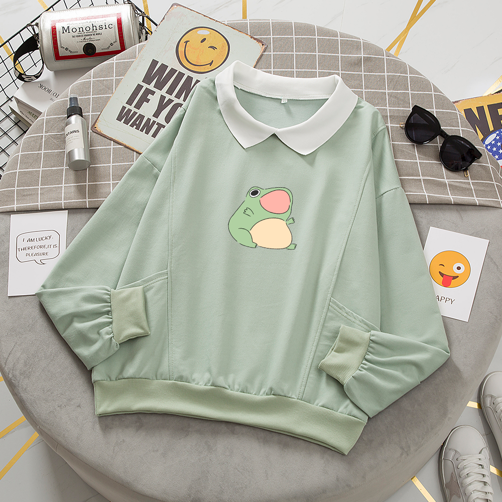 Frog Swearshirt Graphic Aesthetic Oversize Clothes Harajuku Cotton Pullover Feminino Hoodies with Pocket Kawaii Hoodie for Girls