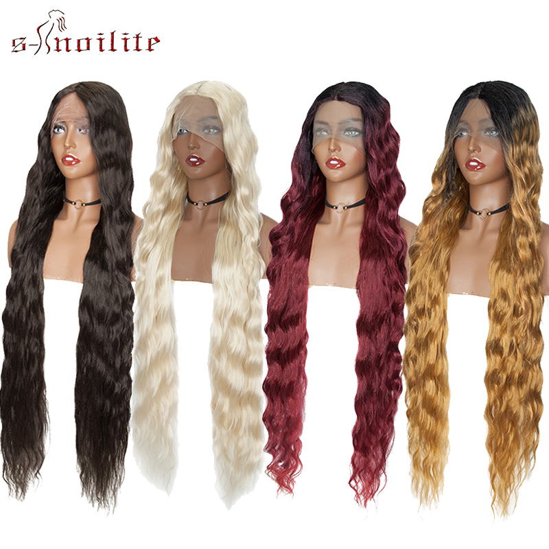 S-noilite Synthetic Long Curly Lace Front Wigs Ombre Red Blonde Black Lace Wig Hairpieces For Women Cosplay Wigs Hair Extension