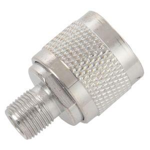 HTHL-2pcs N Тип штепсельная вилка к F гнезду RF коаксиальный разъем адаптера для беспроводной антенны, серебро