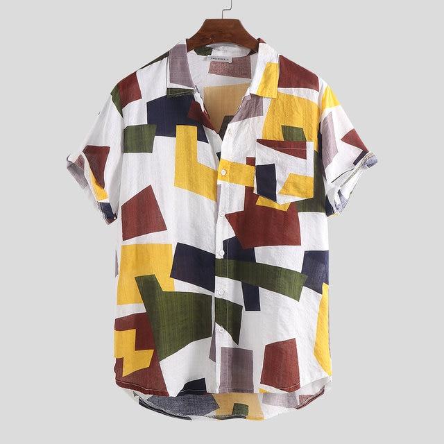 Summer Mens Shirts Cotton Linen Blouse Shirt Short-sleeve Button-down Print Loose Hawaiian Shirt Blouse Beach Undershirt Soft 2