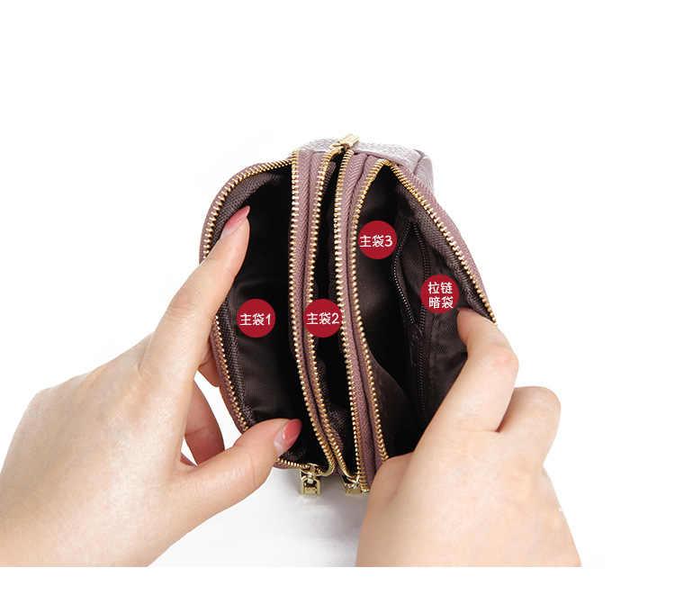 Echt Leer Vrouwen Portemonnee Vrouwelijke Kleine Clutch Dame Walet Portomonee Rfid Luxe Merk Money Bag Magic Rits Portemonnee