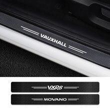 4 pçs limiar do carro protetor de carbono para vauxhall agila antara movano vivaro vxr8 soleira da porta adesivos logotipo do carro tuning acessórios