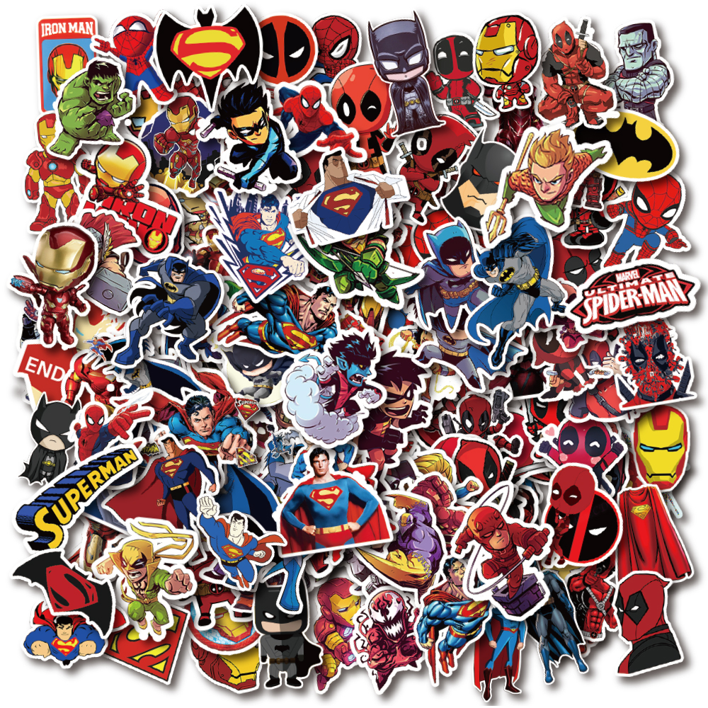 200 PCS Large Pack DC And Marvel Superhero Cartoon Graffiti Stickers Waterproof PVC Decal For Laptop Helmet Bicycle Luggage Car