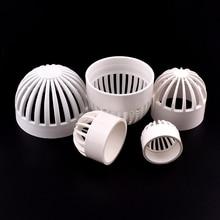 Cap Aquarium-Tank Drain-Pipe PERMEABLE-SCREEN-FILTER PVC White 1-3pcs 20-110mm Pervious-Cap