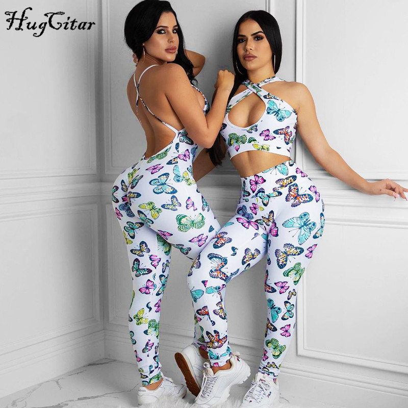 Hugcitar 2020 Butterfly Print Backless Sleeveless Sexy Jumpsuit Stretchy Spring Summer Women Streetwear Outfits Sportswear