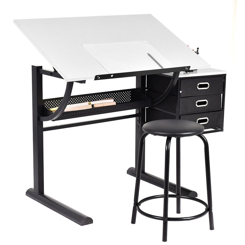 Adjustable Drafting Table Art & Craft Drawing Desk W/Stool Metal School Desks Set HW52946