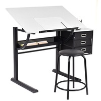 Adjustable Drafting Table Art & Craft Drawing Desk w/Stool Metal School Desks Set HW52946|  -