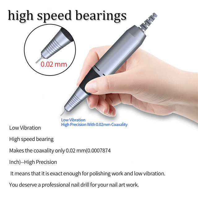 32W 35000RPM Electric Nail Drill manicure Machine File New Version of Copper Handle Nail Tool Kit Electric Nail File with Cutter 3