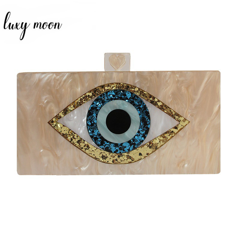 Acrylic Clutch Bag Women's Evening Bag Champagne Mini Hand Bag Wedding Party Purse Cartoon Eye Printing Shoulder Bags ZD1450