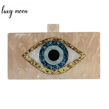 Acrylic Clutch Bag Womens Evening Bag Champagne Mini Hand Bag Wedding Party Purse Cartoon Eye Printing Shoulder Bags ZD1450