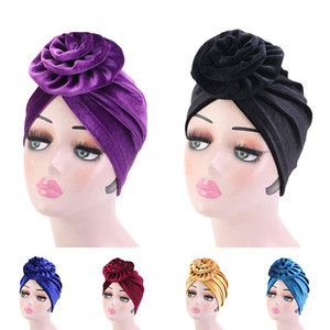 Indian Cap Headwear Solid Inner Hijabs Fashion Big Flower Headscarf Muslim Hat Women Head Wrap Glitter Turban Hat Muslim turban
