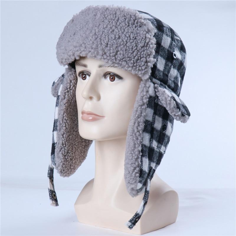Winter unisex Bomber Hats Plush Earflap Lamb wool Plaid Snow Cap Pilot Earflap Trapper Northeast warm hat Lamb wool Lei Feng hat