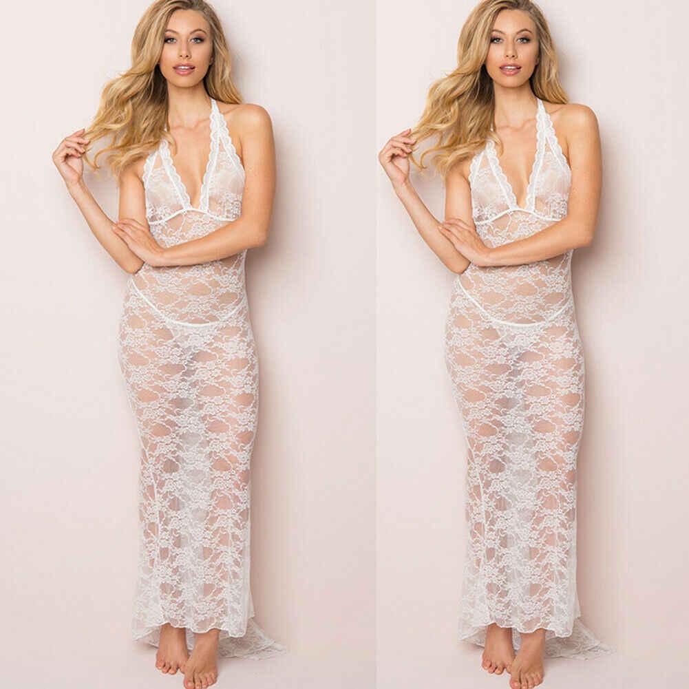 ฤดูร้อนผู้หญิงเซ็กซี่สปาเก็ตตี้ดูผ่านลูกไม้ชุดยาวผ้าไหมชุดชั้นใน Nightgown ชุดนอน S-XXL