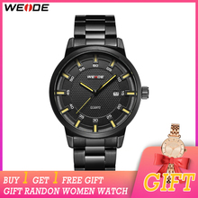 WEIDE Analog Movement Men Business Brand Black Stainless Steel Strap Belt Waterproof Man Wrist Women Watch цена