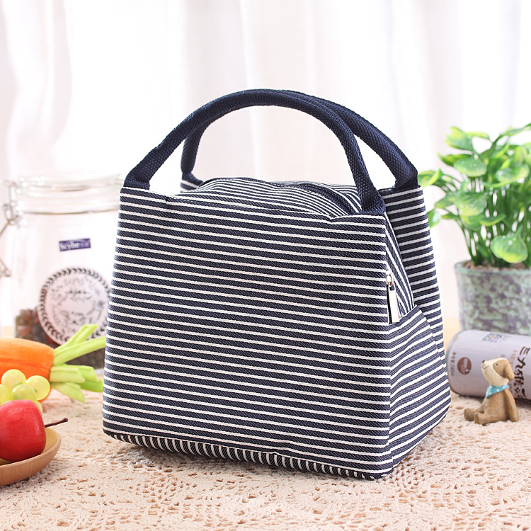 Stripes Lunch Bag For Women Isothermal Bag Packaged Food Thermal Bags Thermo Pouch Kids Lunch Bag Refrigerator Mummy Bag