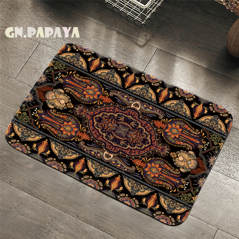 Retro Indian Mandalas Carpet Bohemian Bathroom Floor Mats Toilet Rugs Kitchen Area Rug Art Mandala Pad Absorbent Front Door Mat