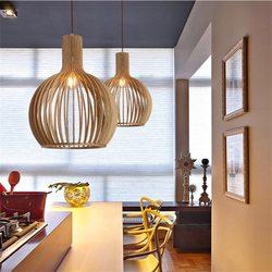 Modern wooden Birdcage Pendant lights norbic living room kitchen hanging lamps home deco bamboo weaving Pendant lamp Luminaire