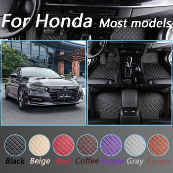 Waterproof Floor Mats For Honda All Models CRV XRV Odyssey Jazz City crosstour CRIDER VEZEL Accord Leather Foot Mats Custom Made image