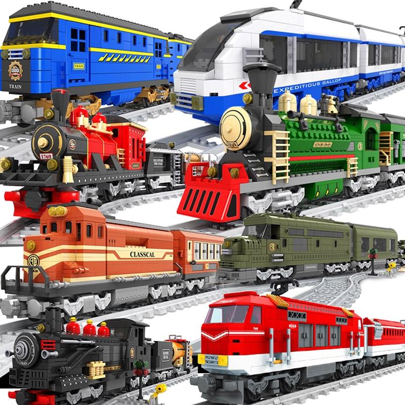 Ausini City Compatible Legoed Train Station Army Passenger Tracks Rail Kits Maersk Carriage Building Blocks Toys Bricks Technic