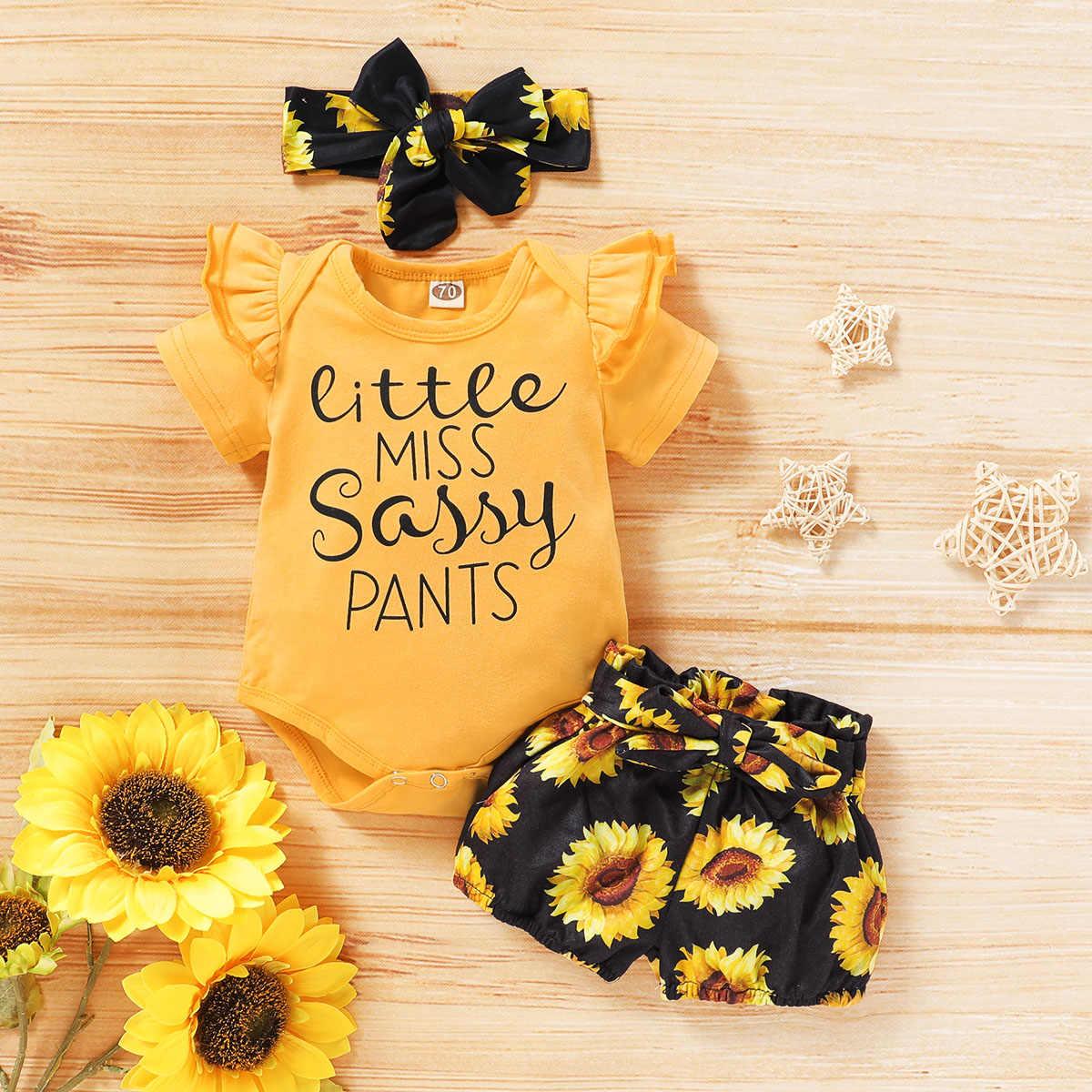 Toddler Baby Infant Girls 3Pcs Sunflower Outfits Headband Ruffle Tops Shorts Set