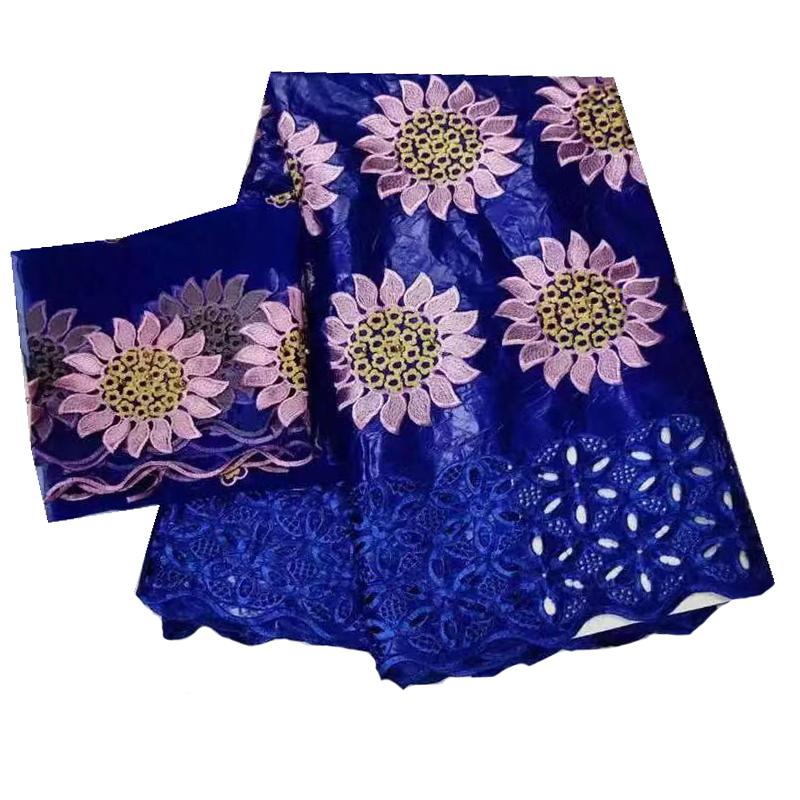 Pink Flowers Fabric Blue Bazin Riche Getzner Austria Embroidered Tulle Fabrics African Nigerian Sewing Materials 5+2 Yards/lot