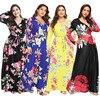 New  Bohemian dress Amazon popular V-neck split long sleeve Print Dress Holiday Beach dresses 1