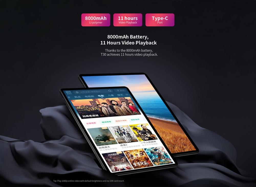 """Image 4 - Tablet telefoniczny Teclast T30 4G android 9.0 10.1 """"1920x1200 MTK P70 4GB RAM 64GB ROM tablety PC podwójny aparat GPS type c 8000mAhTablety Android   -"""