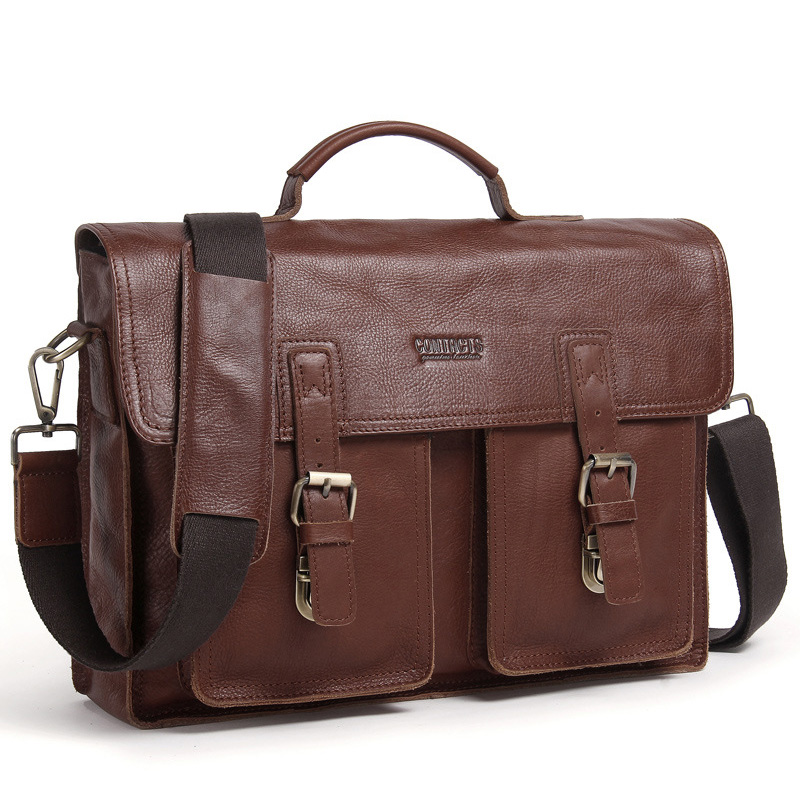 Genuine Leather Men Briefcase For 14
