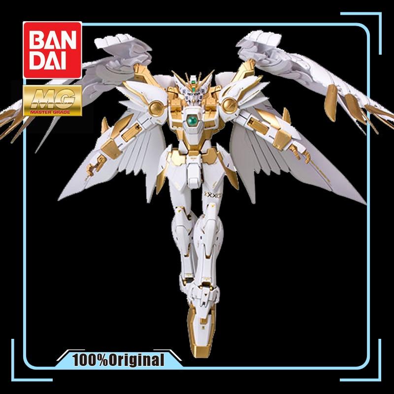 BANDAI MG 1/100 XXXG-00W0 Titanium Alloy Coloring Wing Gundam Zero Angel Model Assembly Toys Action Toy Figures