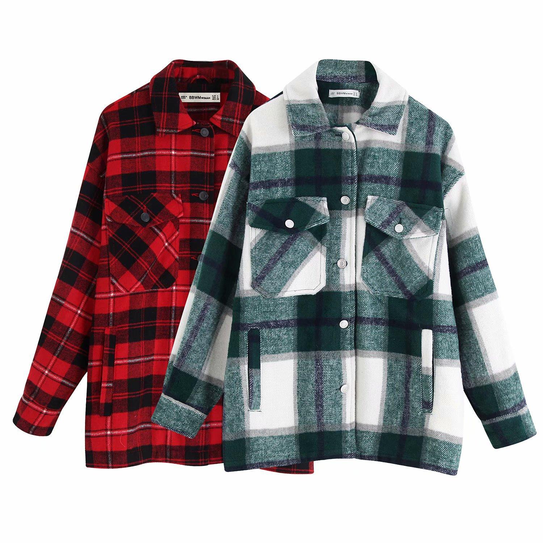 2020 Spring Autumn Europe America WOMEN Dress New Style Plaid Shirt Zaraing Vadiming Sheining Female Shirt Jacket Coat
