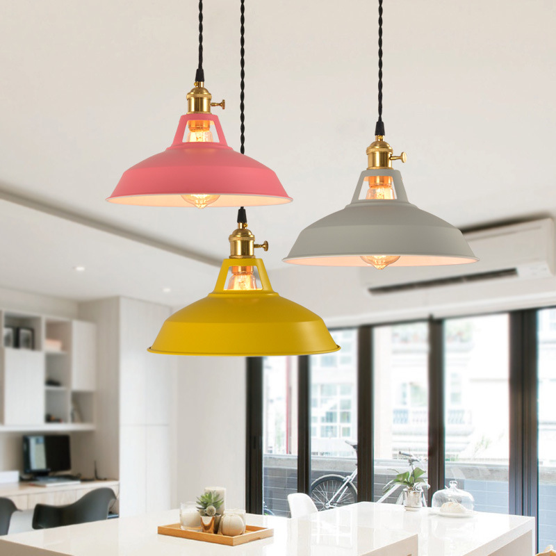 Retro  Industrial style Colorful Restaurant kitchen home lamp Pendant light  Vintage Hanging Light lampshade Decorative lamps