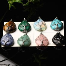 1PC Natural Crystal Rose Quartz Tree of Life Pendant Quartz Crystal Fashion Necklace Couple Decoration DIY Gift Accessories(China)