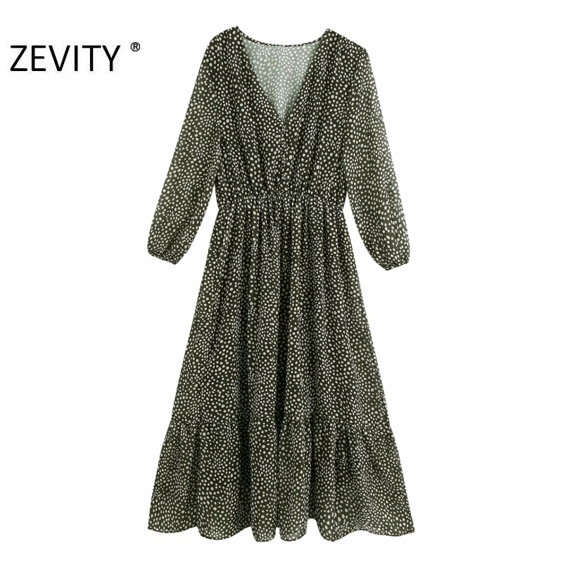 ZEVITY Women vintage v neck polka dots print casual chiffon midi Dress female three quarter sleeve Vestidos Chic Dresses DS4357
