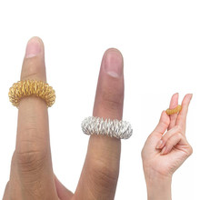 Free Ship 12x24x48x100x Sensory Finger Massage Ring Fidget Acupressure antipress toys for kids & adults gold silver gifts favor