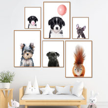 Kawaii baby постер с милыми собаками и пузырьками декоративная
