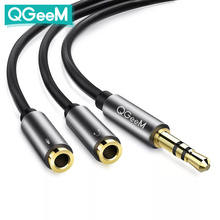 QGEEM 3.5mm Audio Splitter Cable for Computer Jack 3.5mm 1 Male to 2 Female Mic Y Splitter AUX Cable Headset Splitter Adapter
