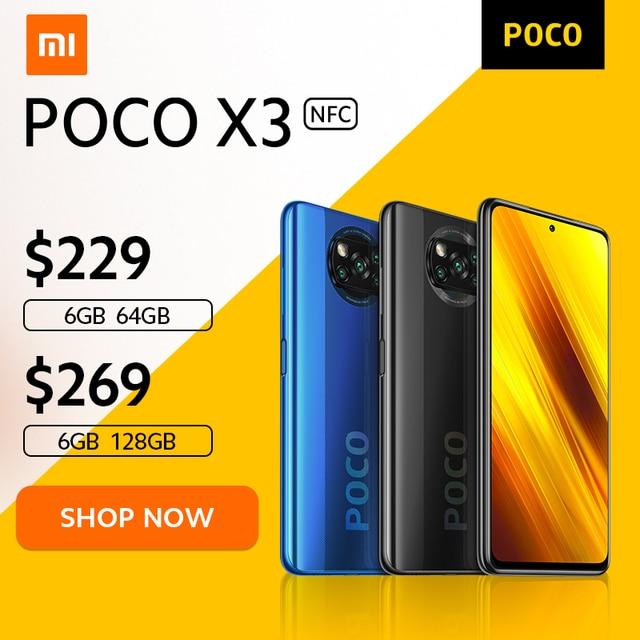 [वर्ल्ड प्रीमियर फ्लैश सेल इन स्टॉक] POCO X3 NFC ग्लोबल वर्जन स्नैपड्रैगन 732G Xiaomi स्मार्टफोन 64MP कैमरा 5160mAh 33W चार्ज