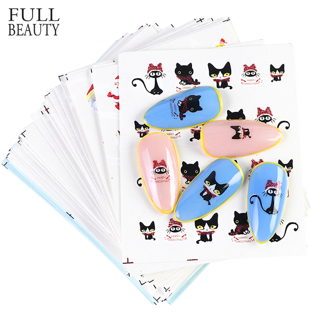 Juego de calcomanías de Navidad para manicura, juego de 44 láminas para uñas, diseños de invierno, CHNJ004