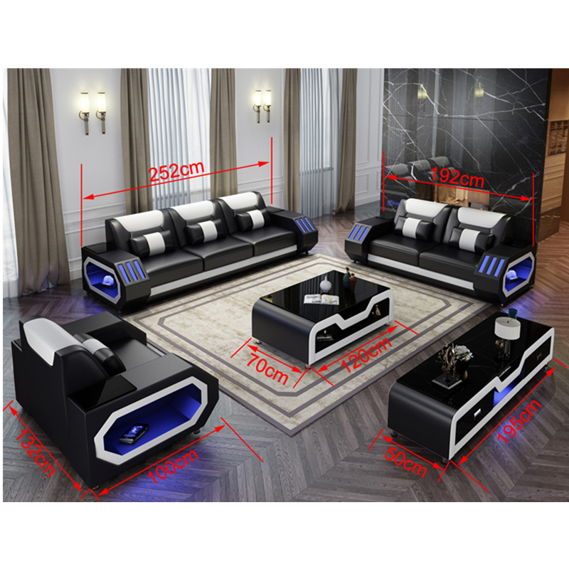 Wholesale living room furniture cheap leather corner sofa set 5 6
