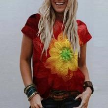 Maglietta a fiori stampata floreale allentata Casual girocollo estivo da donna di moda Tie Dye top Plus Size manica corta