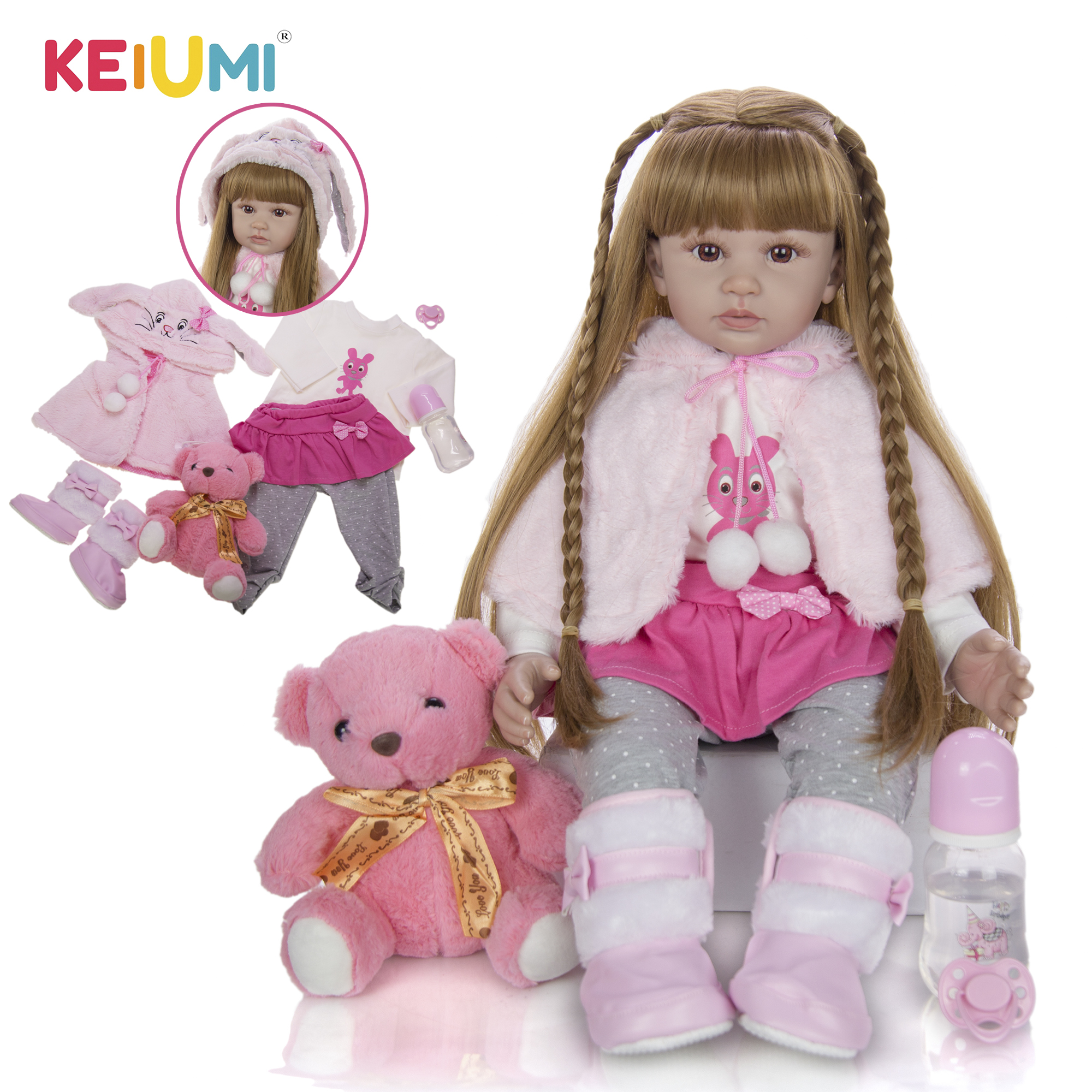 Мультяшная Кукла реборн KEIUMI, мягкое тканевое тело 60 см, накидка Реборн, Реалистичная кукла с длинными волосами, подарок принцессе на день ро...