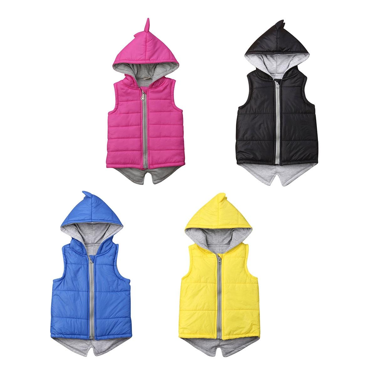Зимняя жилетка с динозавром для маленьких девочек, куртка на молнии с капюшоном, пальто, верхняя одежда, розовые толстовки, От 6 месяцев до 7 л...