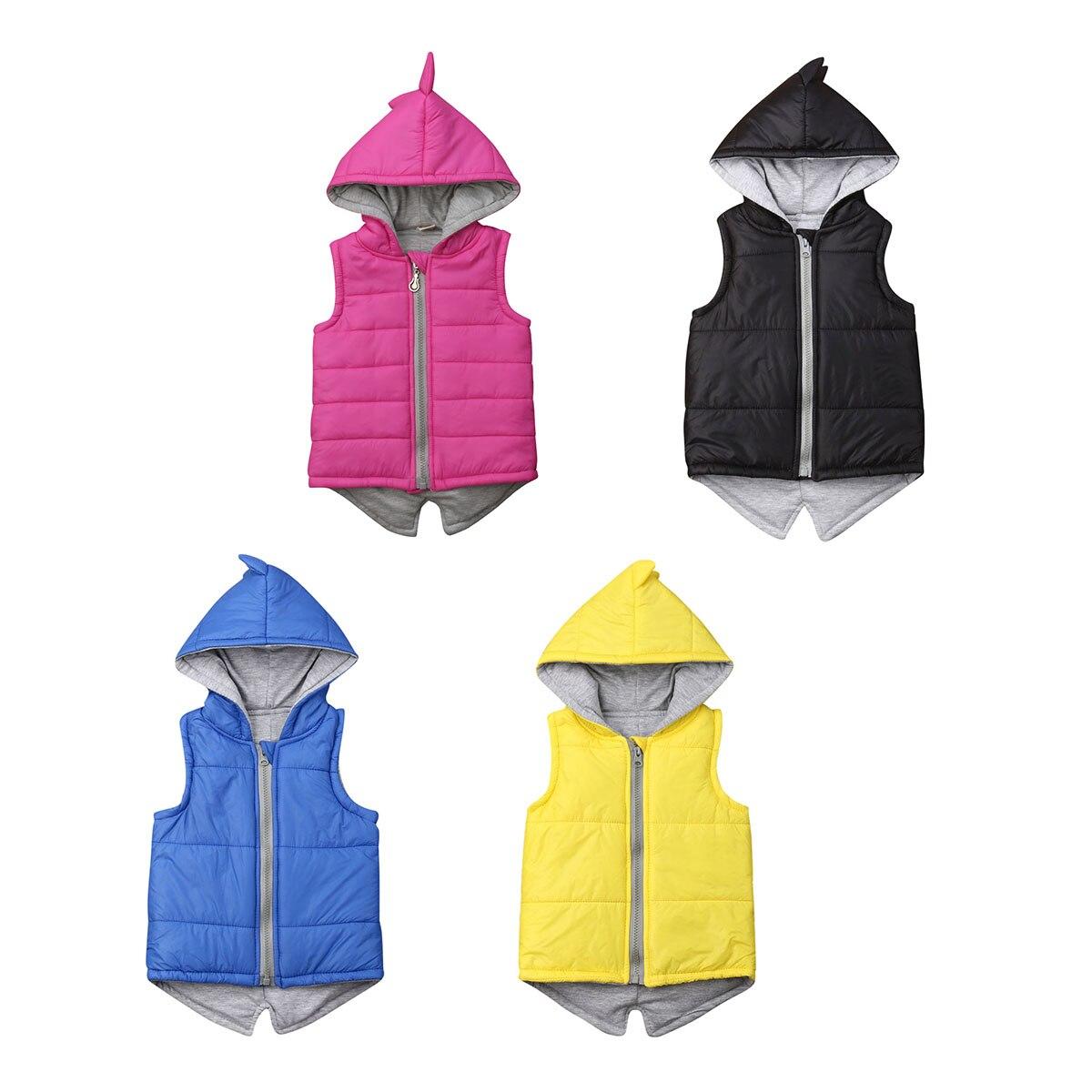 Winter Infant Kids Baby Girls Dinosaur Vest Zip Hooded Jacket Coat Tops Outerwear Pink Hoodies 6M-7T