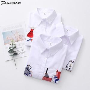 Image 2 - Модная вышитая женская блузка , рубашка , осень 2019, мультяшная вышивка, женские блузки , свободный верх, длинный рукав, белая рубашка , блузы