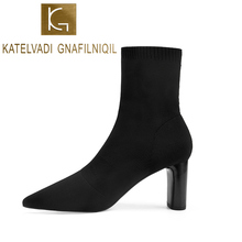 KATELVADI Autumn Winter Fashion Woman Boots High Heels Women Flock Ankle Sexy Pointed Toe K-492